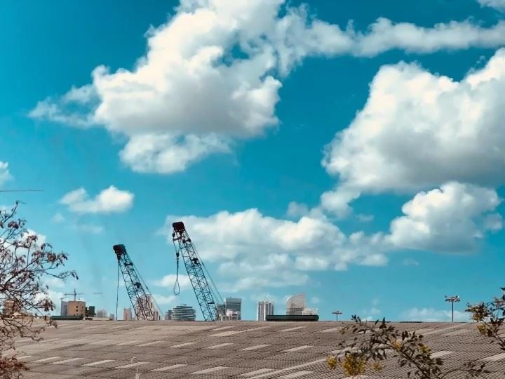 Silence........ motion emotion port clouds sky clear city ... (Port of Beirut)