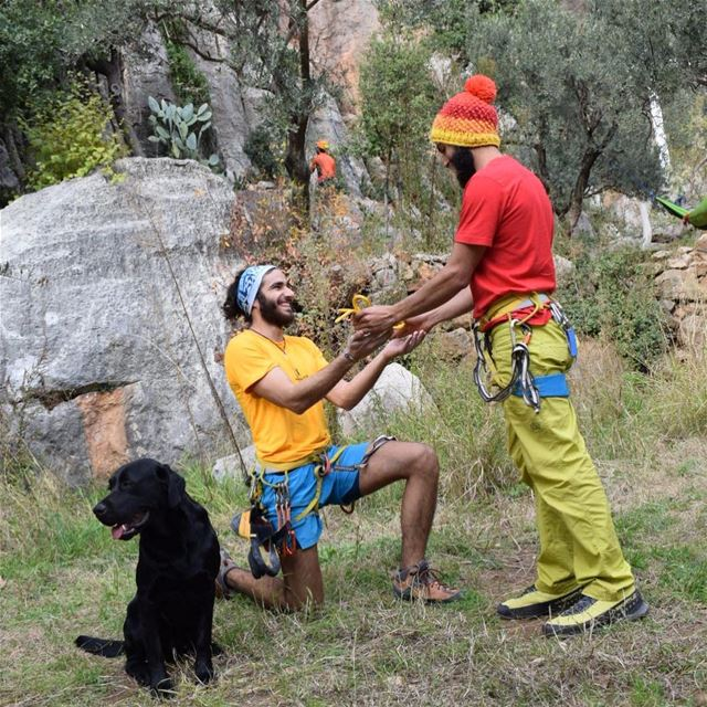 """Another climber completing the """"yellow cow's tail"""" challenge, well done @ma (Tannurin At Tahta, Liban-Nord, Lebanon)"""