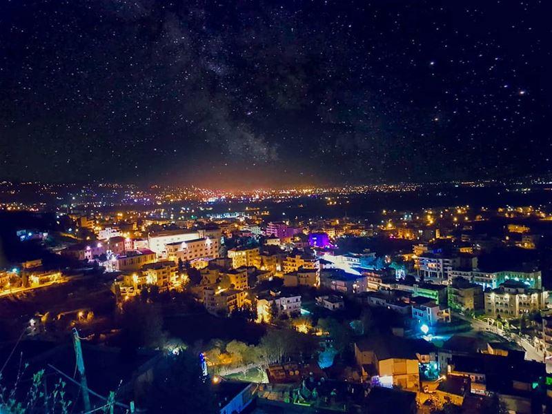 Colorful Night! stars galaxy longexposure nightsky ... (Qabb Ilyas, Béqaa, Lebanon)