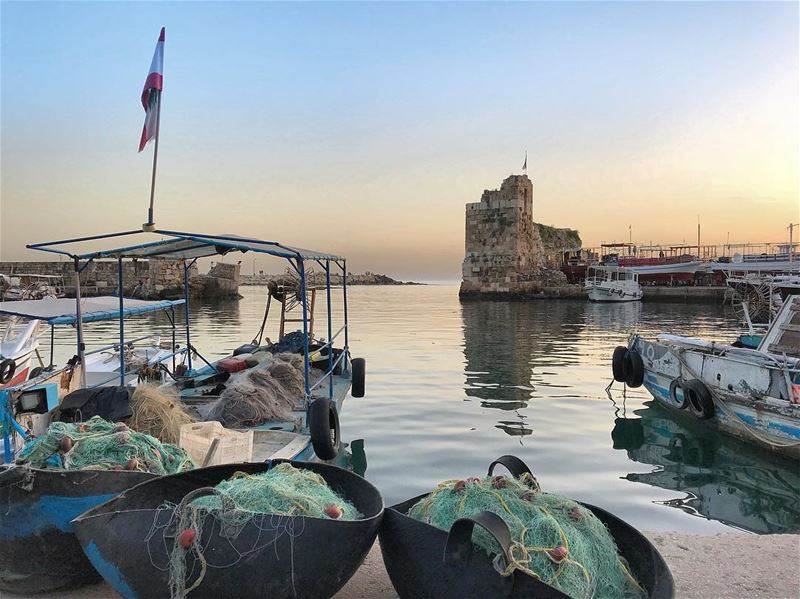 sea sunset fisherman boat byblos sky photooftheday picoftheday ... (Byblos, Lebanon)