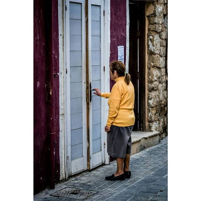 old woman door entrance street tyre alley lebanon neighborhood ... (Tyre, Lebanon)