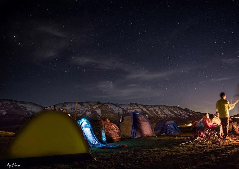 Cold air..Dark night..Warm Fire..Bright stars....... photography... (Arz Tannoûrîne)