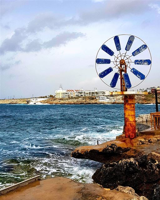 Easter  spring  windmill  sea  blue  skies  chekka  anfeh  lebanon ... (Enfeh)