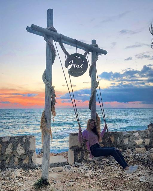 Using a June swing in April. ThugLife ⛅🌊..... beach sunset swing ... (Batroûn)