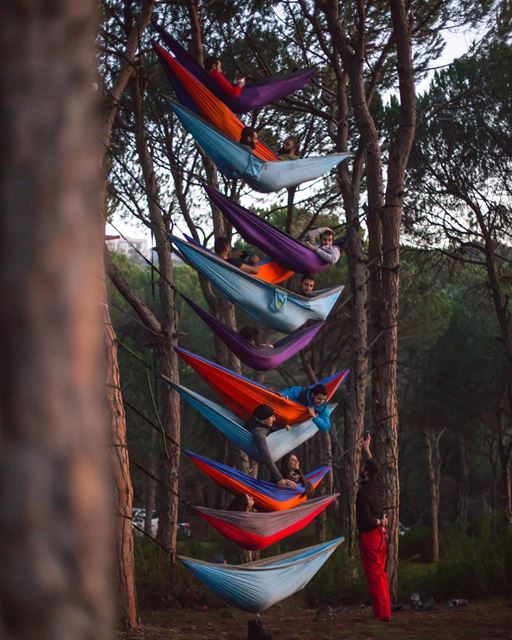 Just a typical hang with these awesome hammockers HikeMen3alli2 ... (Broummâna, Mont-Liban, Lebanon)
