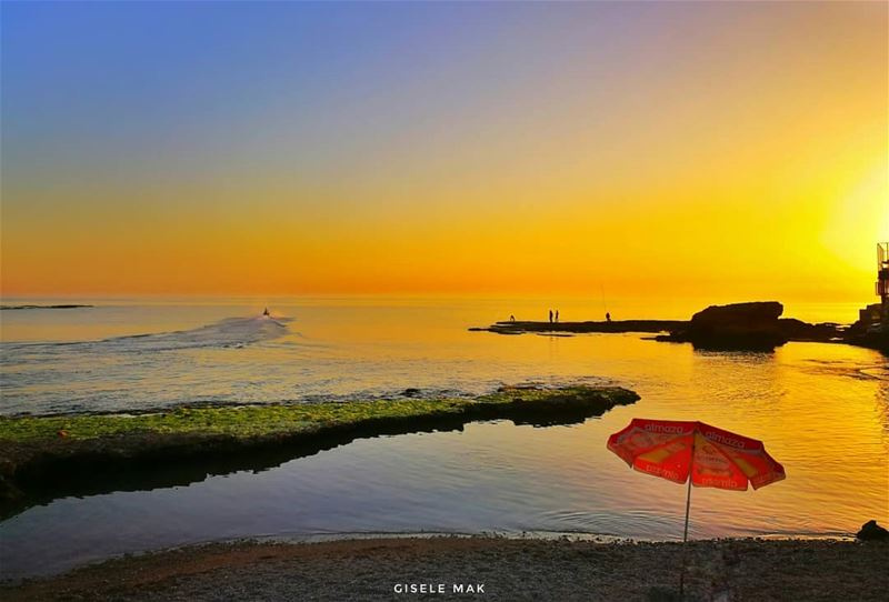 Burning sunsets are just majestic... seascape horizon sunset_pics ... (Lebanon)