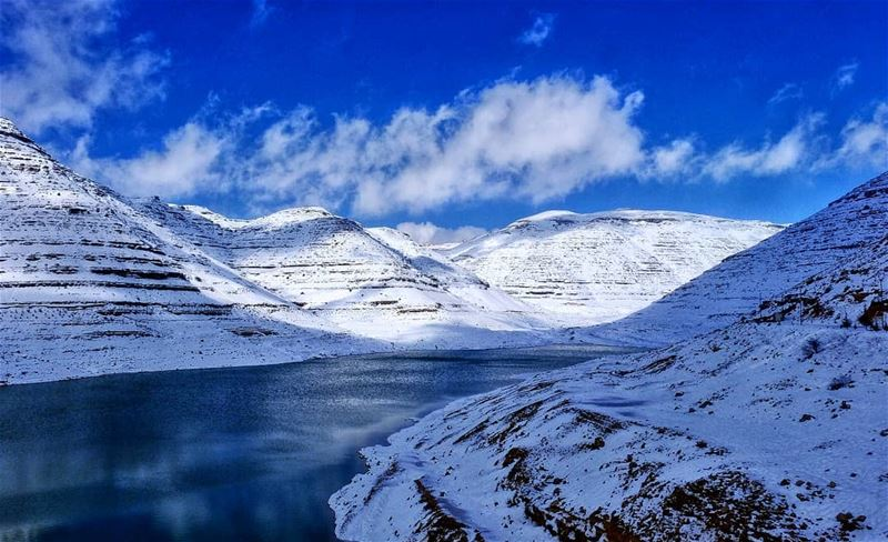 lebanon mountains lebanese lake chabrouh dam snow altitude ...