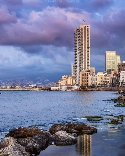 The blue hour | Ein el Mraisse Beirut at evening livelovebeirut. sea ... (Beirut, Lebanon)