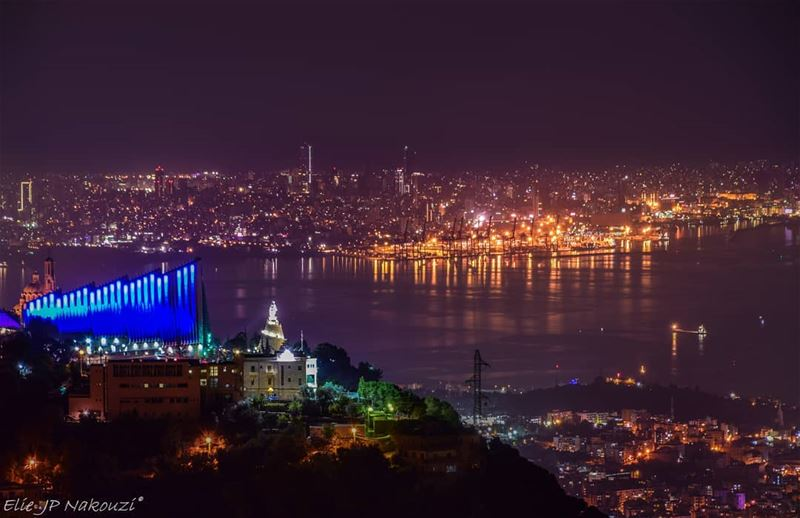 Blessed beyond measures nikon night photography beirut harissa ... (Ghosta, Mont-Liban, Lebanon)