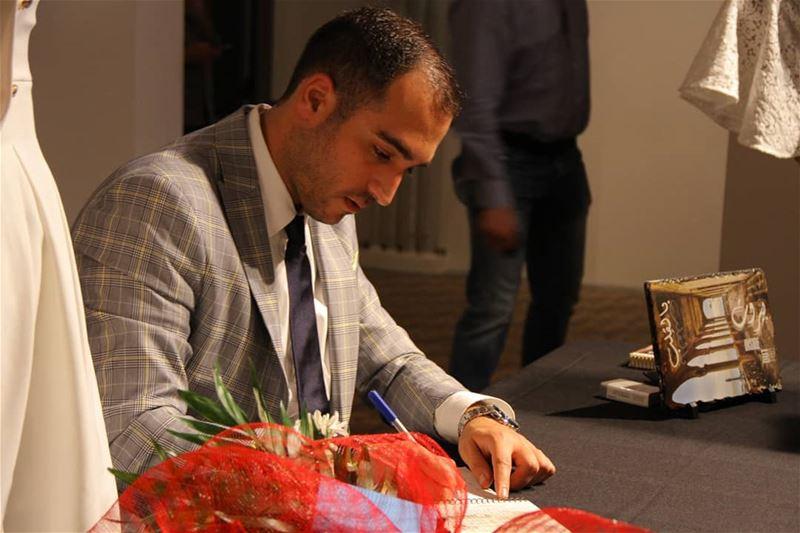During بيروت بالقِلب signing event... mondanite rou7beirut beirut ... (Beit Beirut)