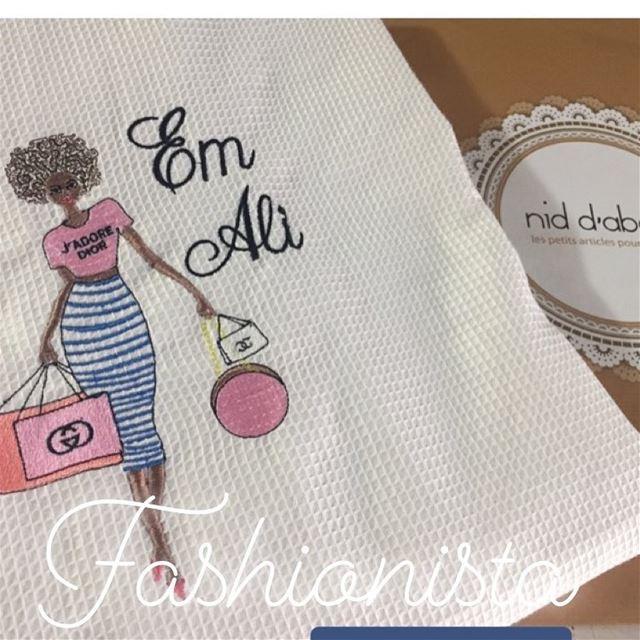 I 💖fashion! Order your nid d'abeille bathrobe & towel! Write it on fabric...