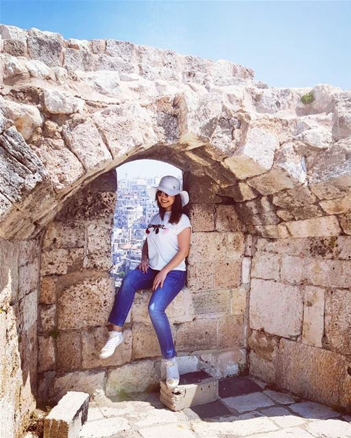 "Sitting at the ""Cantara-window"" of a 1103- year-old Citadel with the... (Tripoli Citadelle)"