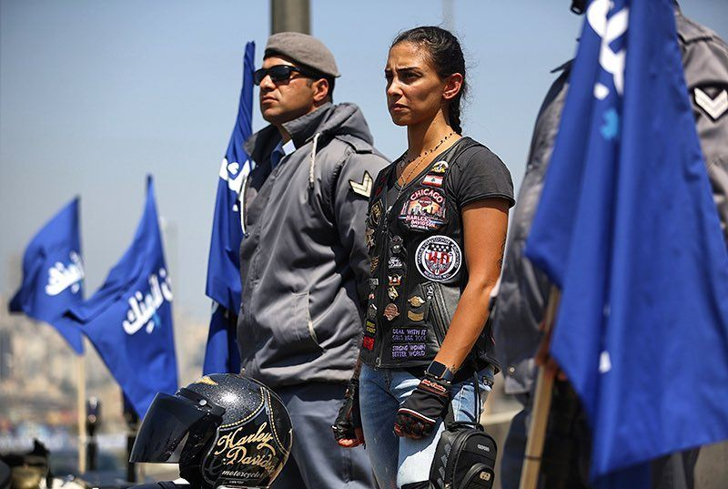 Good morning Beirut. A Lebanese woman, member of a Harley Davidson club,...