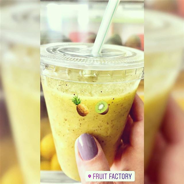 @fruitfactoryleb - Juice of the day Pineapple Kiwi 🍍🥝 detoxifying ... (Fruit Factory)