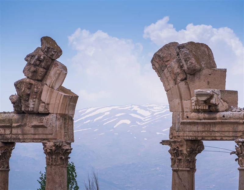 Baalbeck frames the melting snow ... (Baalbek, Lebanon)