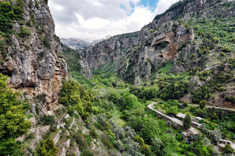 The Mouth of the Qadisha Canyon in the Spring - Green is all over the...