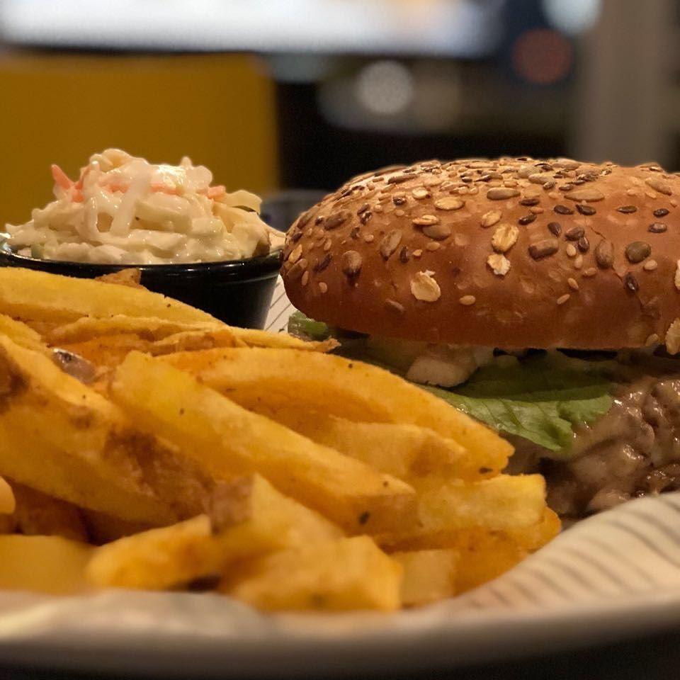 Burger & fries 🍟 🍔 😯... burger lostburger fries coleslaw lebanon ... (Beirut, Lebanon)