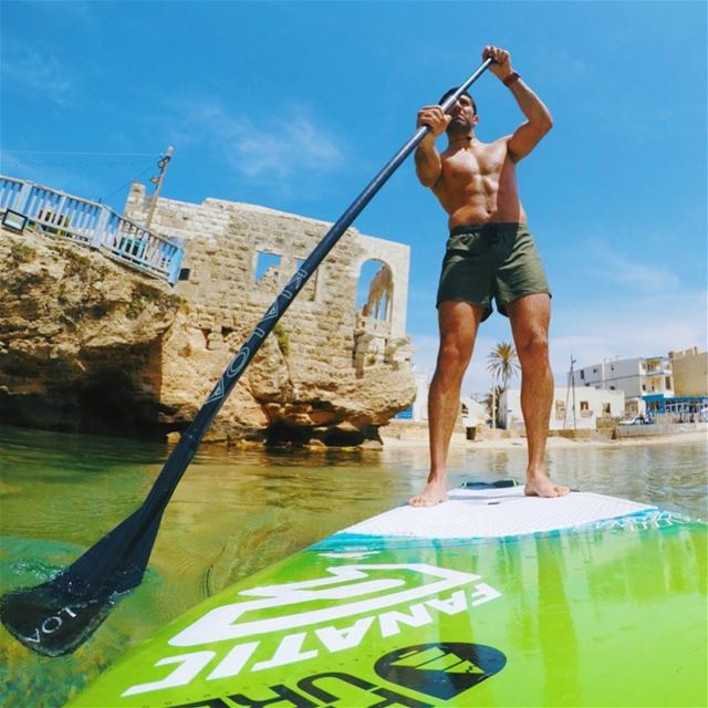 Beach life 🏖😎.. standuppaddle beach lebanon sea gopro ... (Lebanon)
