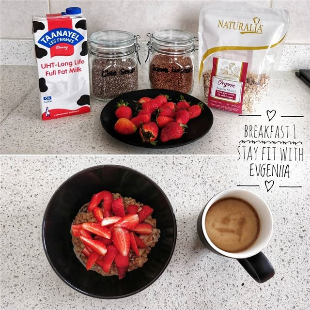 "(На русском ⬇️)✅ BREAKFAST 1""Oatmeal with milk and strawberries"".... (STAY FIT with EVGENIIA)"
