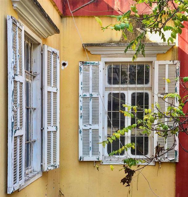تحت الشباك ناطر... قلبي المشتاق ناطر windows old architecture ... (Achrafieh, Lebanon)