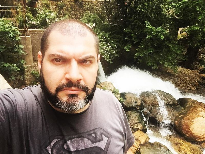 me myself selfie abouja2ra nature river green mood superman ... (Koûsba, Liban-Nord, Lebanon)