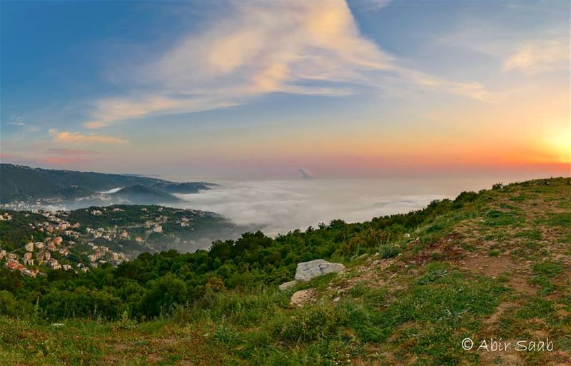 Sunset sights & nature sounds trigger in us a feeling of serenity and... (El Kfour, Mont-Liban, Lebanon)