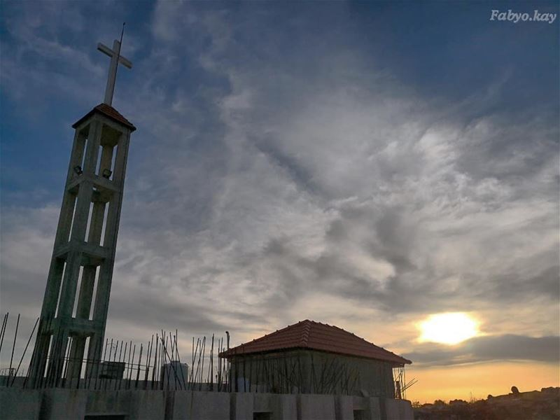 _____________________________________ sunset Church skylovers sunsets... (Btâter, Mont-Liban, Lebanon)