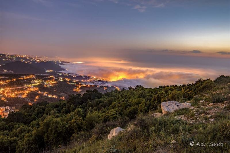 Viewing this nightscape & getting lost in its beauty.. Was definitely... (El Kfour, Mont-Liban, Lebanon)