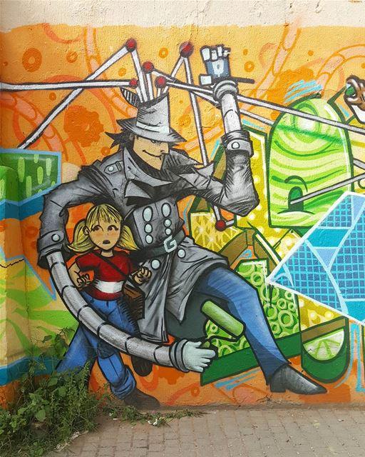 Go-Go Gadget! hiddenbeirut ......... Lebanon beirut wallart ... (Badaro the Street)
