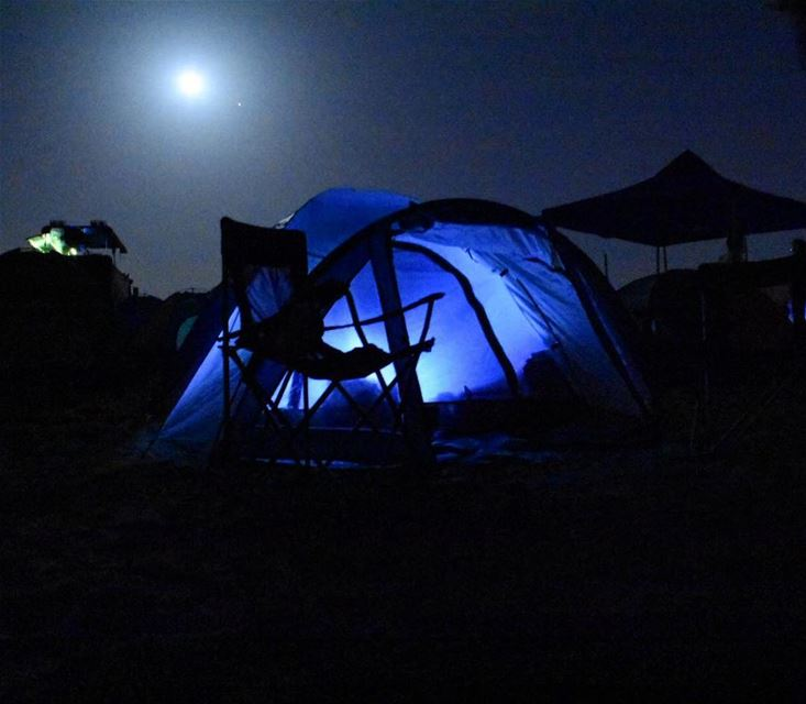 Crazy things happen when there is a full moon. camping beachnight ... (Damour, Lebanon)