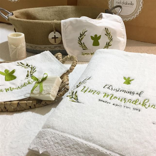 Blessed Christening Uma 🌿Write it on fabric by nid d'abeille happy ...
