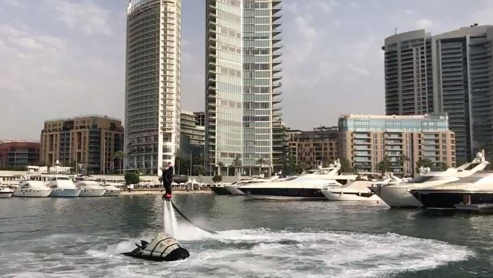Showtime @beirutboatshow @estherzouki1 @zaitunaybayofficial flyboard ... (Zaitunay Bay)