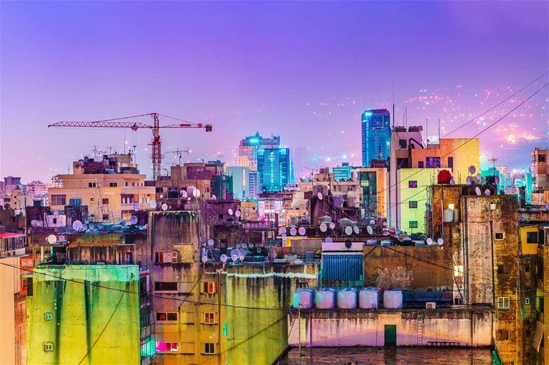 beirut city cityscape night light lights building rain colors ... (Beirut, Lebanon)