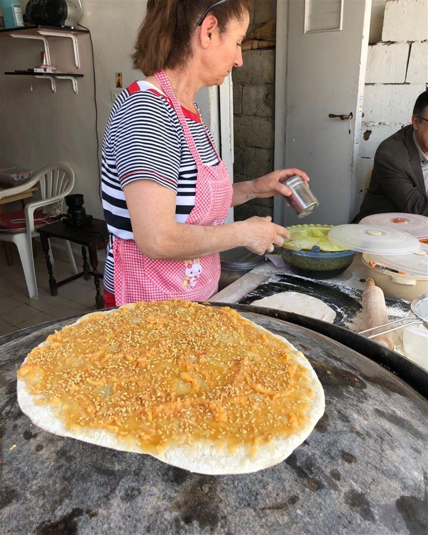 Keshek manoosh gets a sprinkling of sesame seeds. Recipe in cookbook. ... (Beirut, Lebanon)
