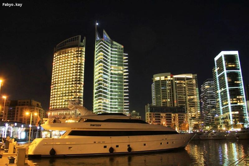 beirut libanon beiruting nightlife lebanonspotlights nightlights boat... (Zaitunay Bay)