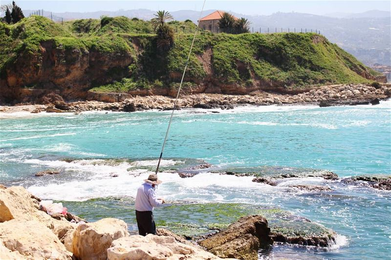 Fishing for some luck! fishing  simplelife  life  fisherman  house  coast... (Byblos - Jbeil)