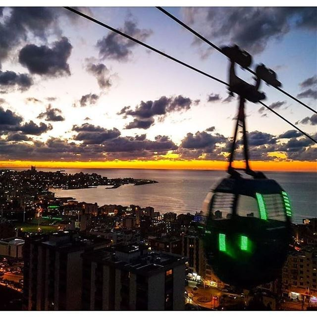 """Sunset cable car rides in Harisa.""📷 @disaurous Harissa Teleferique ... (Telefrique-Harisa)"