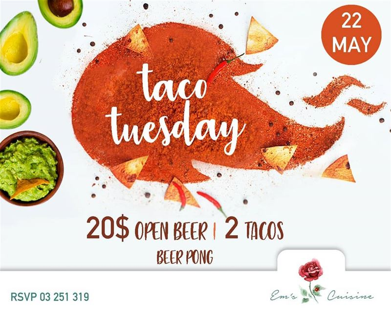 Every Tuesday is TACO TUESDAY at Em's. Join us this Tuesday at 9PM. 2... (Em's cuisine)