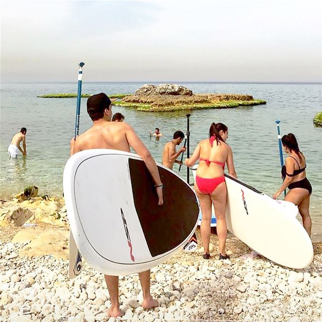 With @rotaractkesrouan team!... sup standup paddle safra beach ... (Safra Beach)