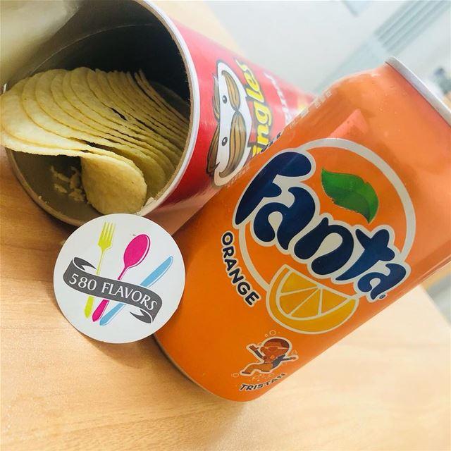 Some snacks never hurts to survive the day 😍😍 @pringlesarabia @fanta .....