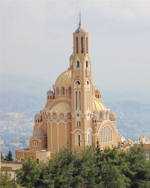 St. Paul's Cathedral, as seen from the top of Our Lady of Lebanon, in... (Harîssa, Mont-Liban, Lebanon)