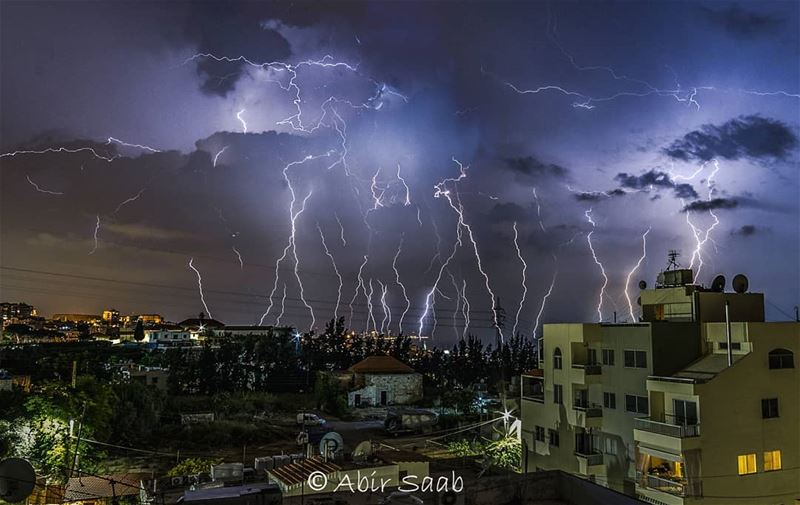 On a stormy summer night.. lebanon zoukmikael storm lightning night ... (Zouk Mikael)
