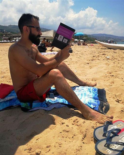 A day on the beach me reading beach lebanon beirut jbeil ... (Byblos, Lebanon)