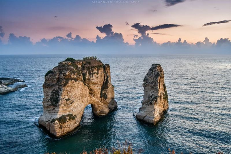The blue Hour | Rawche, Lebanon before the storm. sea lebanon nature ... (Rawcheh)