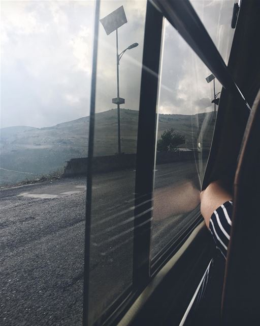 🚌 • ع هدير البوسطة • friday bus window road tumblr caption lebanon... (ضهر البيدر لبنان)