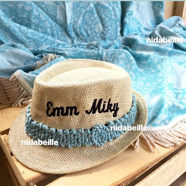 & i m feeling blue ☀️ Write it on fabric by nid d'abeille  beachtowel  hat...