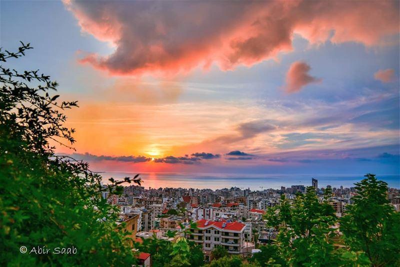 lebanon zoukmikael cloudy sunset colorful landscape lebanontimes ... (Zouk Mikael)