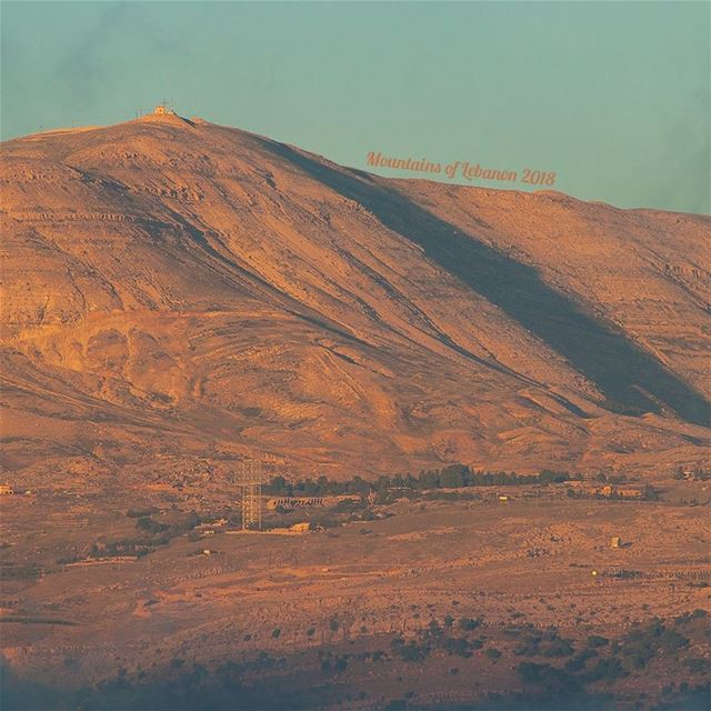Summer Sunsetting illuminating the Mzaar Peak, on Mount Sannine,below the... (Qanat Bakish, Mont-Liban, Lebanon)
