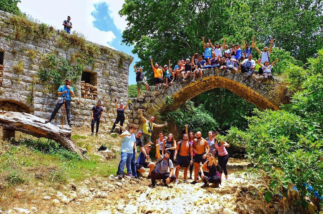 Moments before the bridge crashed🤔 fatty hikers 📸: @phototectbys ...... (Nahr el Jaouz)