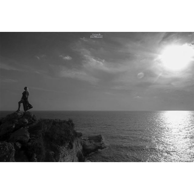 beirut rawshe blackandwhite bw blackandwhitephotography sunset sea ...
